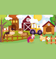 horses hen chicken turkey tractor barn house fence vector image