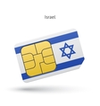Israel mobile phone sim card with flag vector image vector image