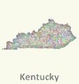 Kentucky line art map vector image vector image
