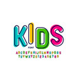 kids style colorful font playful alphabet letters vector image vector image