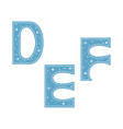 letters d e f decorated with snowflakes isolated vector image vector image