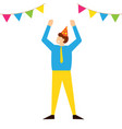 man celebrate birthday party in festive cap vector image