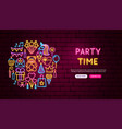 party time neon banner design vector image vector image
