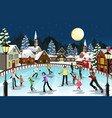 people ice skating vector image vector image