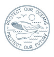 protect our ocean protect our future logo vector image
