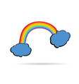 rainbow between the clouds color vector image vector image