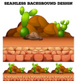 Seamless background with cactus and rocks vector image
