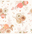 seamless floral pattern pastel dry flowers dahlia vector image