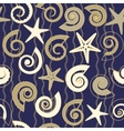 Seamless pattern with shells and stars vector image