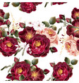 seamless wallpaper pattern with realistic roses vector image vector image