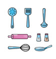set kitchen utensils and traditional object vector image vector image