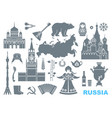 set of icons on the theme of russia vector image