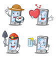 set of iphone character compass love miner beer vector image vector image