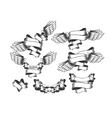 set strips with wings vector image
