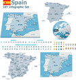 Spain maps with markers vector image