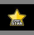 sportstar logo yellow star in black outline as vector image