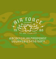 stencil-plate sans serif font and air force emblem vector image vector image