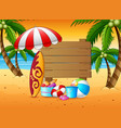 summer holiday background with a wooden sign and b vector image vector image