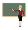 the blond teacher explaining at the blackboard vector image vector image