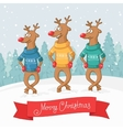 three deer dance Winter forest landscape Postcard vector image