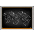 three white pistols on black vector image vector image