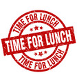 time for lunch round red grunge stamp vector image vector image