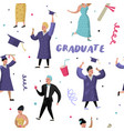 university graduate happy student seamless pattern vector image