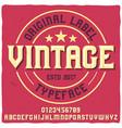 vintage label typeface named vector image vector image