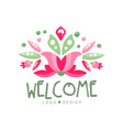 welcome logo design holiday card banner vector image vector image