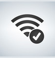 wifi connection signal icon with check mark in vector image vector image