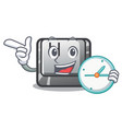 with clock button h in shape cartoon vector image vector image