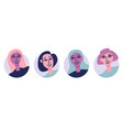 young women avatar icon set flat vector image vector image