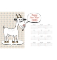 Calendar Template 2015 with Goat Graphic vector image