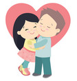 cute little girl and boy hugging valentines day vector image
