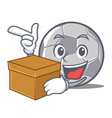 with box football character cartoon style vector image