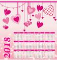 2018 year calendar hearts flowers fly vector image