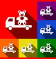truck with bear set of icons with flat vector image
