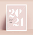 2021 new year minimalistic typographic poster or vector image vector image