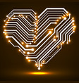 abstract neon circuit board in shape heart vector image