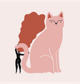 abstract with long hair woman and cat vector image vector image