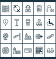 airport icons set with information board airport vector image