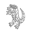 alligator prancing mosaic black and white vector image vector image