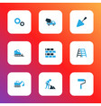 architecture icons colored set with stepladder vector image vector image