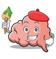 artist brain character cartoon mascot vector image vector image
