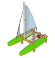 boat toy on white background vector image vector image