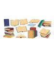 books piles hand drawn set vector image