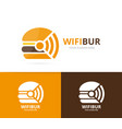 burger and wifi logo combination hamburger vector image vector image