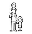 caricature thick contour faceless dad with boy on vector image vector image