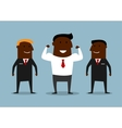 Cartoon happy businessman with bodyguards vector image vector image