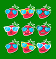 cartoon strawberry emojis with sunglasses vector image vector image